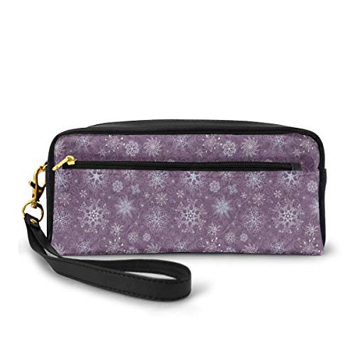 Pencil Case Pen Bag Pouch Stationary,Christmas Themed Floral Arrangement Ornamental Swirls and Curves Winter,Small Makeup Bag Coin Purse