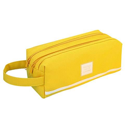 Zentto Mäppchen Stiftetasche Doppelstöckig Federmäppchen Briefpapier Pouch Kosmetik Tasche Schreibwaren Bleistiftkasten Für Jungen und Mädchen Gelb