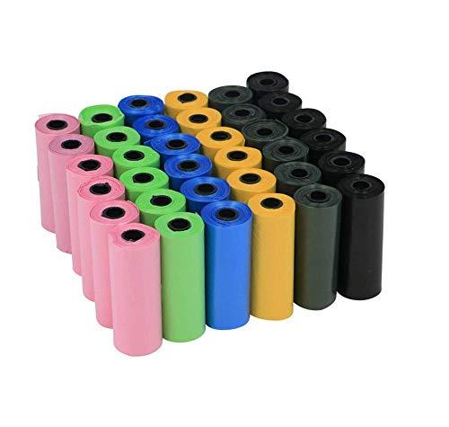 HYFZY Sacchetti Per Bisogni Dei Cani, 345 Pezzi-Biodegradabiliconfezione Da (Nero, Blu, Rosa, Verde, Viola)