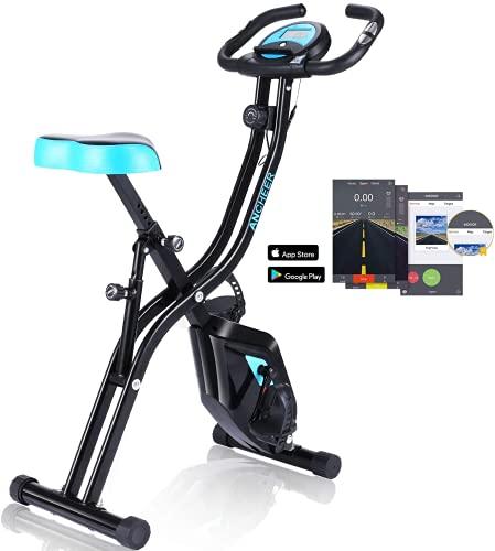 ANCHEER Bicicletta per Esercizio 10 Livelli di Resistenza Magnetica e Sedile Ampio e Confortevole, da Interni, Cyclette Pieghevole da Fitness Supporto per Tablet e Monitor Digitale (Nero+blu (Tipo 2))