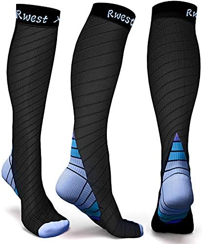 Rwest X Medias de Compresion Mujer y Hombre, Calcetines de compresión para Running ,Ciclismo, Deporte, Trotar, Correr, Volar, Viajar, Aumentar la circulación sanguínea, 1 Pare