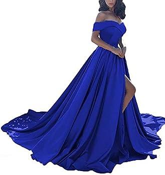 Off Shoulder Ball Gown Prom Dresses Long Satin Slit Wedding Dress for Women 2021 Formal with Pockets Royal Blue 14 Size