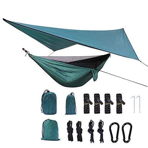 Ruixf 270cm X 140cm Hammock with Mosquito Net & 360cm X 290cm Rain Fly Tarp - Ultralight Parachute Nylon Load 300kg, Windproof Rainproof and UV Resistant, for Outdoor Camping Hiking Picnic Travel