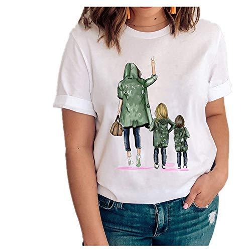 Mujeres Gráfico Amor Manga Corta Dibujos Animados Madre Hija Ropa Señora Tops Ropa Impresión Mujer Camisa - - Large