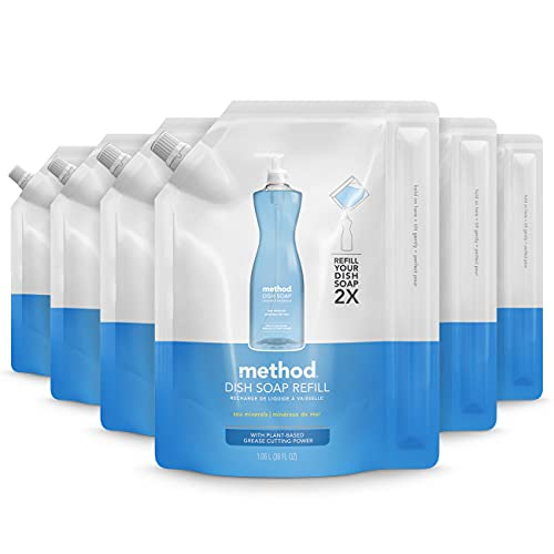 Method Liquid Dish Soap Refill, Plant-Based Dishwashing Liquid that Cuts Through Tough Grease for a Sparkling Clean, Sea Minerals Scent, 1 Liter Bags, 6 Pack, Packaging May Vary