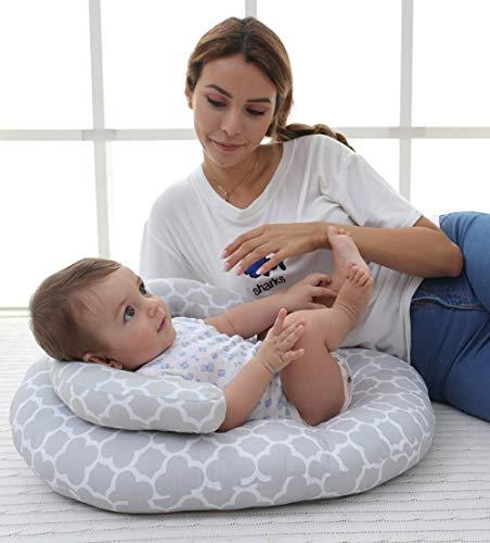 GAHFG Baby Almohada Plagiocefalia Sleep - Almohada Cuna para Amamantar - Protector Cuna de Cama Transpirable Almohadilla de Ayuda para Recién Nacidos 0-12 Meses Dormir Y Viajar