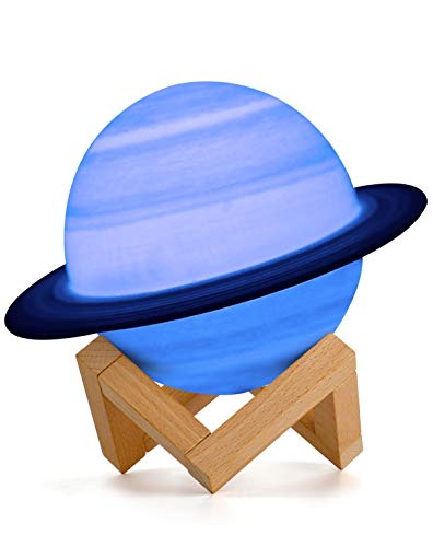 15 cm Saturn Planet Lampe, AMZJUPWM 3D-Druck 16-Farben-Leuchten mit Ständer, Touch-Steuerung und wiederaufladbarem tragbarem USB-Nachtlicht für die Inneneinrichtung und Geschenke für Freunde (Saturn)