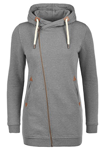 DESIRES Vicky Zip Hood Long Damen Lange Sweatjacke Kapuzenjacke Sweatshirtjacke Mit Kapuze Und Fleece-Innenseite, Größe:M, Farbe:Grey Melange (8236)