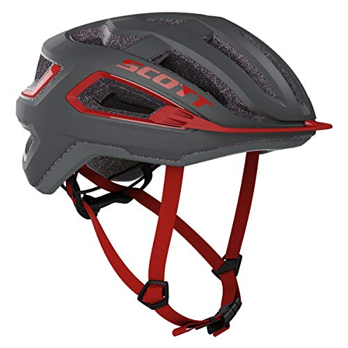 SCOTT Arx 2020 - Casco para Bicicleta, Color Gris y Rojo