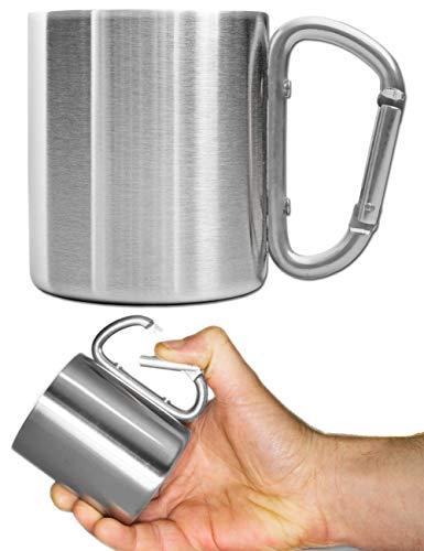 Outdoor Saxx® - Taza de camping, taza de exterior, taza de metal, con asa de mosquetón atornillada, acero inoxidable, senderismo, trekking, trabajo, 250 ml, plata (plata).