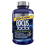 Focus Factor Brain and Vision Supplement, 120 Count - Eye Vitamin and Mineral Supplement w/Lutein and Zeaxanthin – Brain Supplement for Focus, Concentration, Memory - Eye Health Supplements for Adults