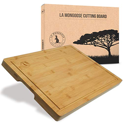 Bamboo 17 x 13 x 1 inch Extra-Large Wooden Cutting Board in Box Juice Groove Silicone Rubber Non-Slip Feet & Hand Grips Butcher Block Chopping Carving Serving Platter Cheese Tray Deluxe Birthday Gift