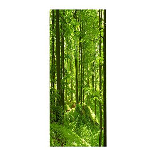 Vosarea Wald Türtapete Selbstklebend 3D Türposter Tür Aufkleber Fototapete Türfolie Entfernbare Wandbild Wandtattoo Bambuswald