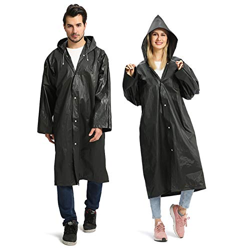 Opret Chubasqueros Impermeable (Paquete de 2), Ponchos Impermeables Capa Lluvia con Mangas y Capucha para Mujer y Hombre, Negro ✅