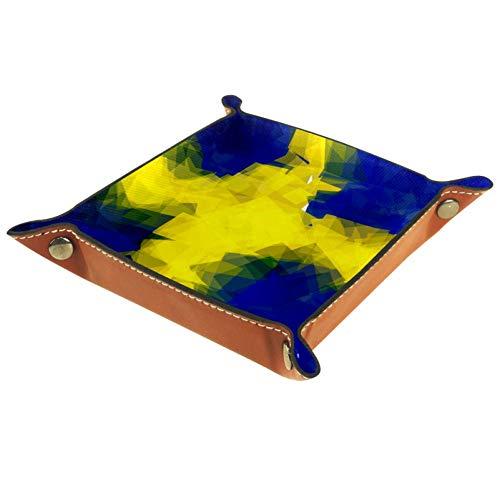 Bennigiry Valet Tablett mit schwedischer Flagge, bedrucktes Leder für Geldbörse, Uhren, Schlüssel, Münzen, Handys und Bürogeräte, Multi, 16 x 16 cm