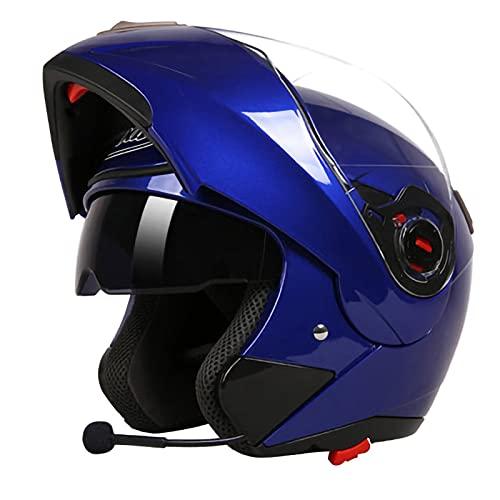 SJAPEX Cascos Moto Bluetooth Integrado,Casco de Moto Scooter,Casco Integral con ECE Homologado,Casco de Motocicleta Bluetooth Completamente Abierto. B,XXL=60~61cm