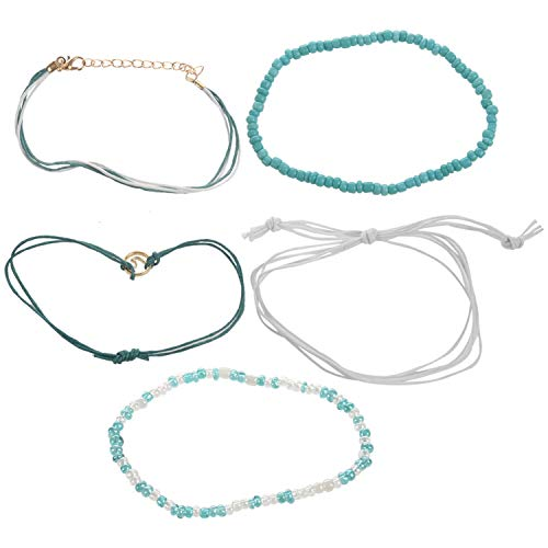 Gesh Beach Blue Green Rope Wave Pendant Anklets for Women Wave Surfer Layered Anklet Bracelet Boho Foot Jewelry