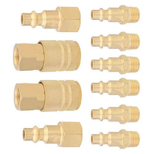 Angoily 10 Stück Amerikanische Schnellkupplung Pneumatische 1 / 4Npt Kupferkupplung Schnellkupplung für Den Maschinenbau