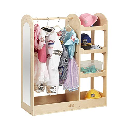 ECR4Kids Birch Dress Up Center, Dramatic Play Storage Closet with Mirrors, Costume Organizer Cubbies and Hooks for Kids Playroom