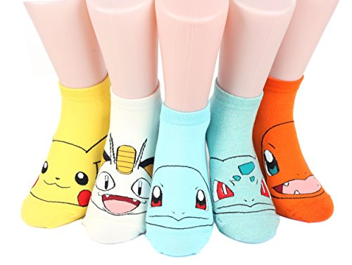 Pokemon Women's Ankle Socks 5 pairs(5 color) = 1 pack Made in Korea