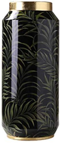 Keramische vaas, zwarte decoratieve vaas Bladpatroon Desktop Vaas gouden rand Bloemstuk Vaas 4 Maten Lengte 21-37CM Decor Vazen (Size : 13.5 * 13.5 * 37CM)