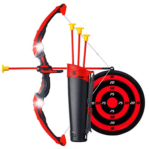 Ninja Bow and Arrow Set for Kids with LED Flashing Lights - Archery Crossbow Toy w/ 3 Suction Cup Safe Arrows, Quiver, Target and Ninja Mask - Soft Shooting Action for Boys and Girls Age 3-12