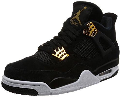 Nike Jordan Men's Air Jordan 4 Retro Black/Metallic Gold White Basketball Shoe 10.5 Men US