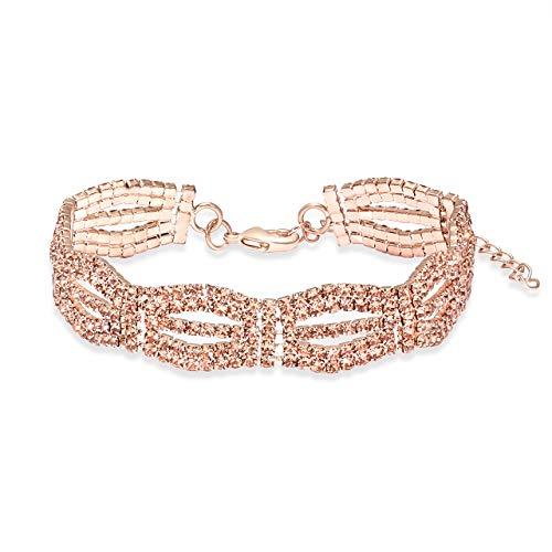 Adjustable Cubic Zirconia Classic Tennis Bracelet For Women Chain Link Bangle Bracelet Jewelry (Rose gold)