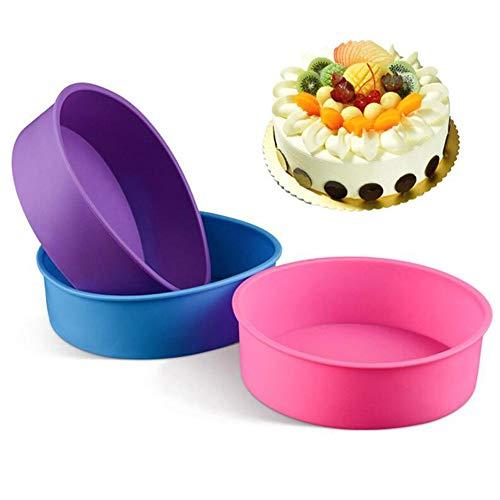 Runde Kuchen-Backform, lebensmittelechtes Silikon, antihaftbeschichtet und Schnellentriegelung, Brotbackform für Schichtkuchen, Käsekuchen, Regenbogen-Kuchen und Chiffon-Kuchen, 20 cm