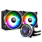 Spirit Of Gamer - LIQUID FORCE 240 ARGB - Kit watercooling per Processori Intel e AMD - Retroilluminazione RGB orientabile 3 Pin / 5 Volt - Ventilatore 120 mm x 2