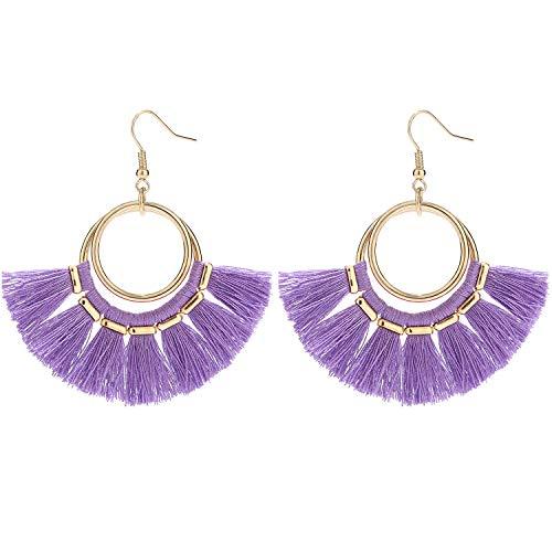 BaubleStar Fan Tassel Earrings Lavender Purple Bohemian Gold Hoop Dangle Fringe Drop Thread Tiered Layered Tassle Fashion Jewelry for Women