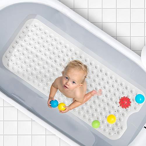 Funxim Badewannenmatte, 100 x 40 cm Antirutschmatte Badewanne Extra lang Duschmattem mit Saugnäpfen für Kinder und Erwachsene, Maschinenwaschbar