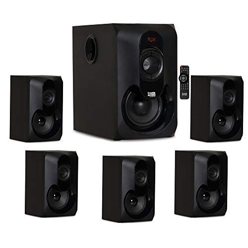Acoustic Audio by Goldwood AA5301 Bluetooth Powered 5.1 Speaker System Home Theater Surround Sound, Black