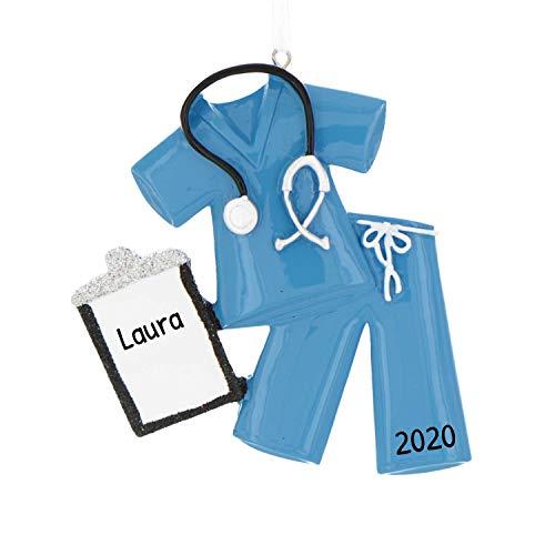 Personalized Scrubs Christmas Tree Ornament 2020 - Blue Nurse with Stethoscope Glitter Folder Medical Health Care Generic Girl Boy New Job Gender Neutral Murse Gift Year - Free Customization