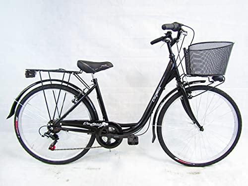 bicicletta donna bici da passeggio city bike 26 cambio 6 velocita' telaio basso (nero)