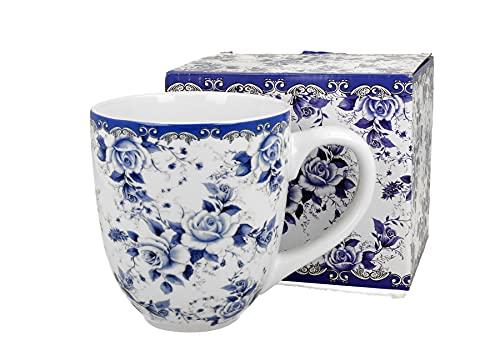 Duo Jumbotasse Becher XXL folkloristische Deko 900 ml Porzellan Trinkbecher Smoothie Becher Geschenk Büro Tasse für Kaffee Teetasse Cappuccino Kaffeebecher Jumbo-Tasse Riesentasse XXXL (Blue Roses)