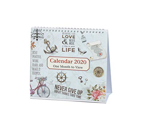 2020 Free-Standing 1 Month to View Spiral Desk Top Calendar,Life Inspirational Slogans Art by Arpan