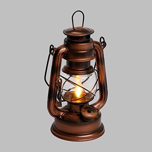 LuminalPark Kupferbraune LED-Laterne Old Style h 19 cm, bernsteinfarbenes Licht, Flackerlicht, bewegliche Flamme, batteriebetrieben