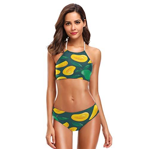 ZZKKO Mango-Bikini-Badeanzug für Damen, hoher Halsausschnitt, Zweiteiliger Badeanzug Gr. XXL, grün