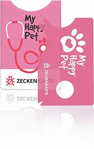 innoGadgets Zeckenkarte mit Lupe | Leichte Zeckenentfernung vom Haustier oder Menschen | Perfekt für Hosentasche, Geldbörse, Rucksack | Karte mit 2 Zeckenzangen und Schutzhülle - Lovely Pink