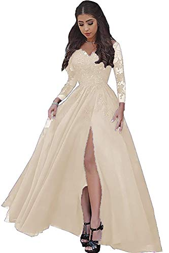 v28a long sleeve dresses LastBridal Women Lace s Long Sleeves Prom Dress High Slit Evening Gowns Lb0076