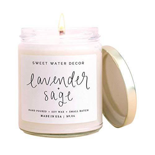 Sweet Water Decor Lavender and Sage Candle | Lavender, Sage, Musk, Patchouli Spa Scented Soy Candles for Home | 9oz Clear Glass Jar, 40 Hour Burn Time, Made in the USA
