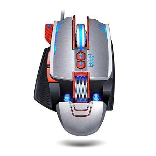 CWWHY Gaming-Maus Verkabelt, Verstellbare Handgelenkstütze Und Gegengewicht, Ergonomische Mechanische Metallbeschaffenheit Mit RGB-Hintergrundbeleuchtung, 8 Programmierbare Tasten,Grau