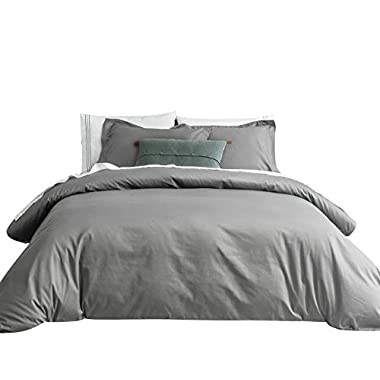 SUSYBAO 3 Pieces Duvet Cover Set 100% Natural Cotton King Size 1 Duvet Cover 2 Pillow Shams Stone Grey Luxury Quality Super Soft Breathable Hypoallergenic Durable Solid Bedding with Zipper Ties