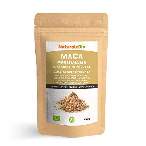 Maca Pulver Bio [ Gelatiniert ] 200g. Natürlich und Rein, hergestellt in Peru aus Bio Maca Wurzel. NaturaleBio