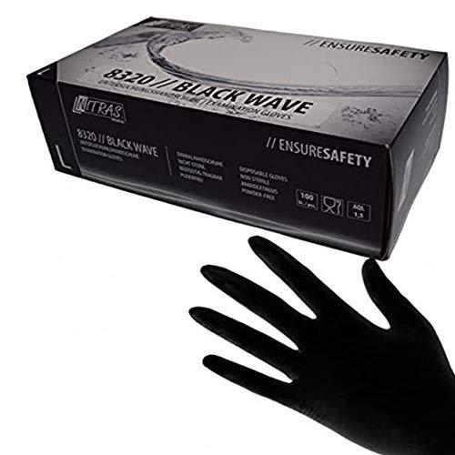 "Schwarze Nitril Handschuhe Nitras""Black Wave"" 100 Stück Größe XS"