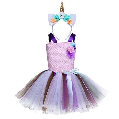 YiZYiF Disfraz Unicornio Niñas Vestido Fiesta Tutú Disfraz Princesa Hada Vestido Unicornios con Diadema Traje Actuación Boda Regalo Cumpleaños 2-12 Años Rosa 7-8 Años