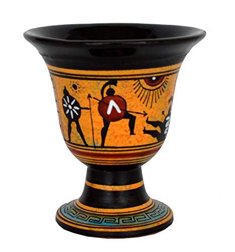 Talos Artifacts Pitágoras Fair Cup – Pitágoras – Pintada a mano con diseño de batalla de espartanos