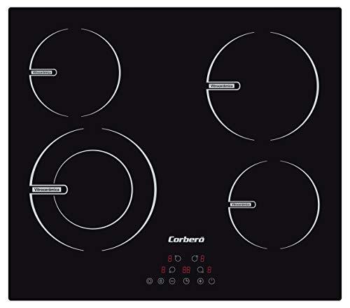 Corberó CCVBR6450 Placa Vitrocerámica de 60 cms, 4 Zonas, Potencia 6400 W, Control Touch, 4 Fuegos, Doble zona 23 Cms, 9 Niveles de Potencia, Temporizador de 99 min.