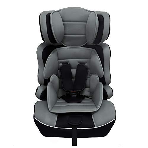 Arebos Kinderautositz | 5-Punkt-Sicherheitsgurt | Kindersitz | Gruppe 1+2+3 für 9-36kg | Einstellbare Kopfstütze | ECE R44/04 | Abnehmbare Rückenlehne | Verstellbar (44 x 44 x 66-78 cm) | Grau